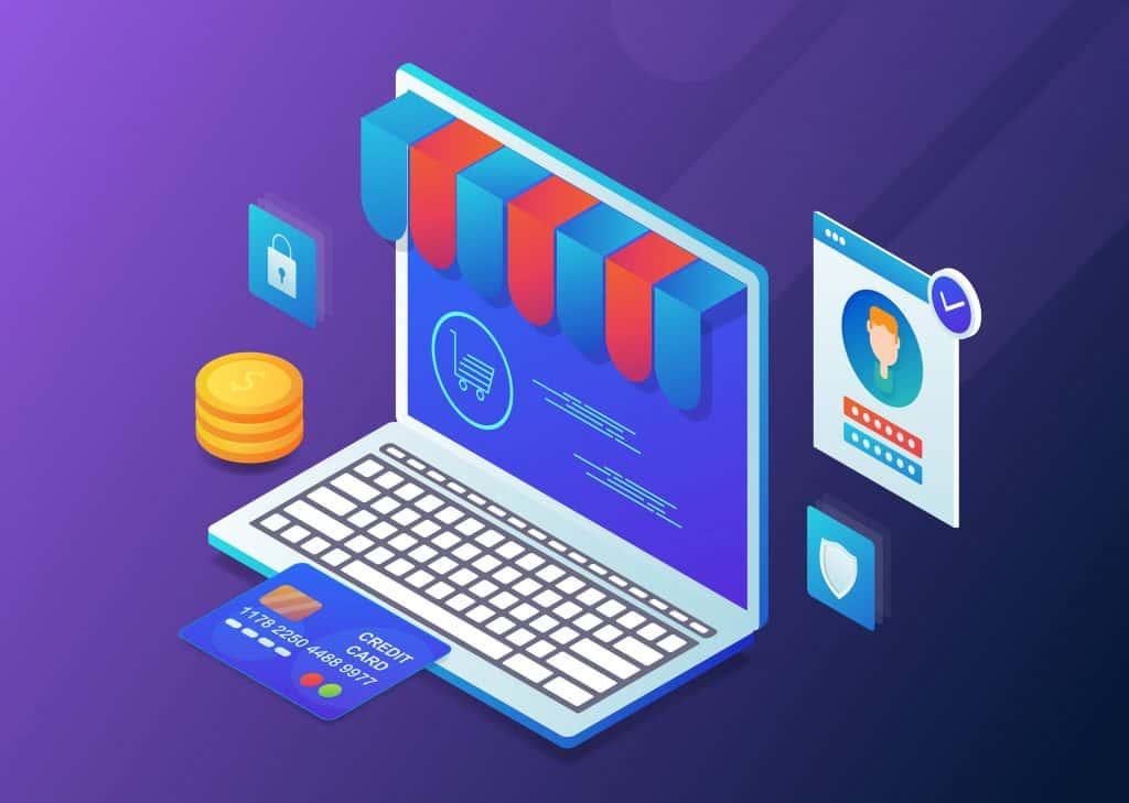laptop receiving online payment